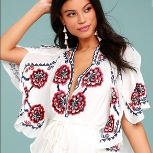 Free People Cora White Embroidered Dress, Size XS